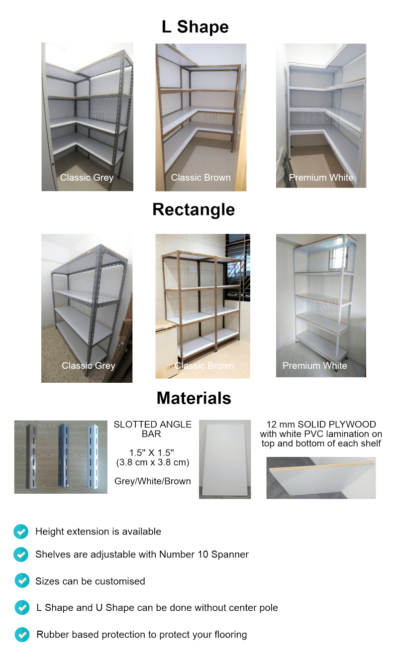 Bolt and Nut with 12 mm PVC Plywood Shelf - Yee Sin Storage